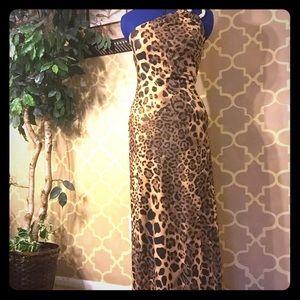Leopard formal gown size 2 asymmetrical